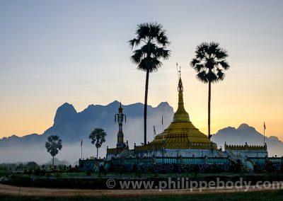 Buddhist pagoda in a karstic landscape, Hpa An, Kayin state, Myanmar,