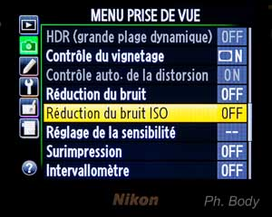 réduction du bruit ISO