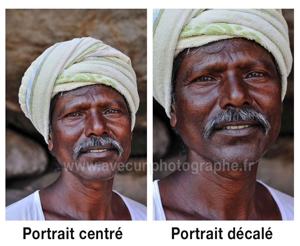 règles de composition - portrait centré - non centré