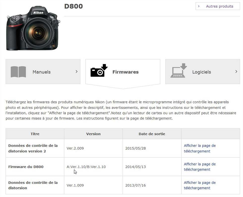 mettre à jour le firmware du Nikon  D800