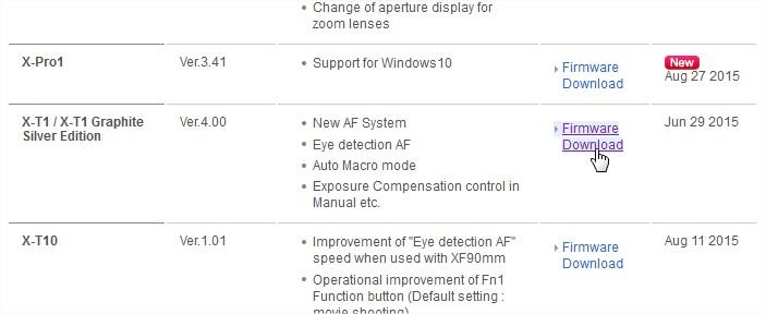 Mise à jour du Firmware Fujifilm XT1 - choix firmware