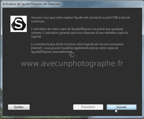 02_Activation de Spyder5Express de Datacolor