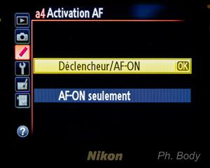 Menu Reglage AF-ON Nikon