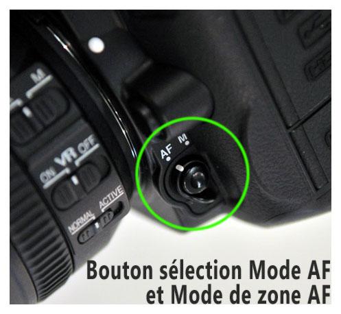 Bouton sélection mode AF et Mode zone AF Nikon