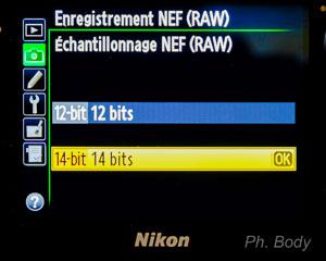 format raw 12 ou 14 bits
