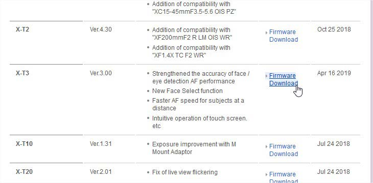mettre à jour le firmware Fuji - choisir le bon modele