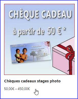 vommandez un chèque cadeau pour stage photo